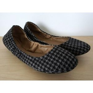 LUCKY BRAND Gray Black Houndstooth Ballet Flats